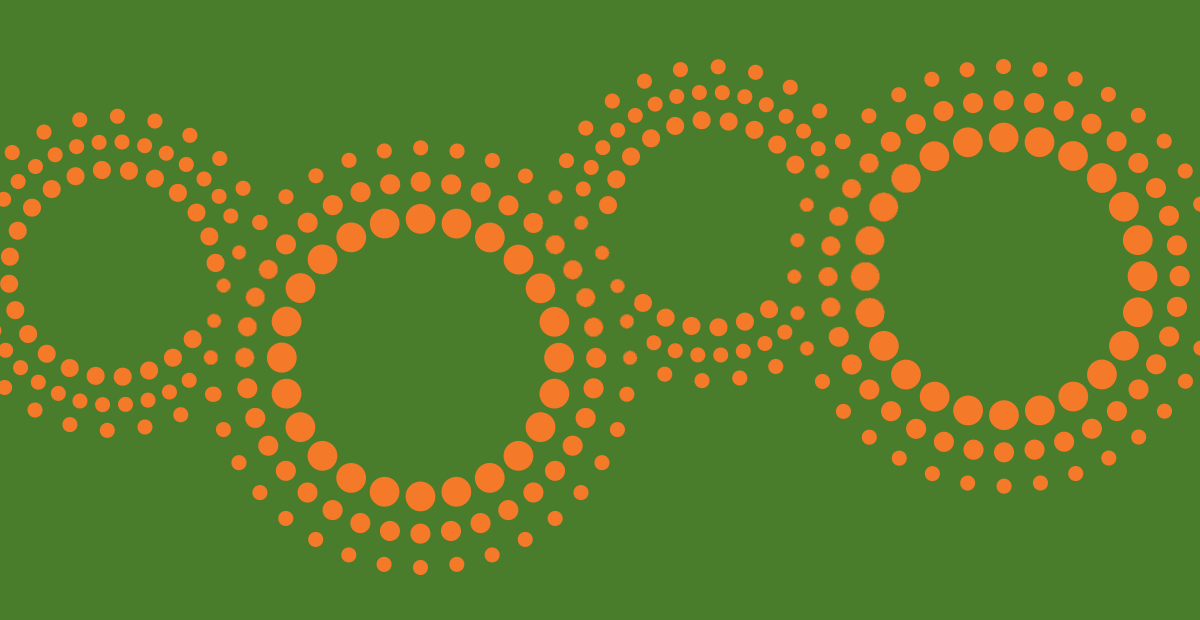 CIPD graphic banner - Lime with orange beaded cogs